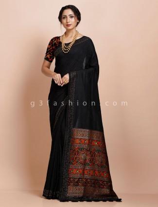 Festive wear black pashmina silk saree