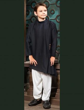 Festive wear black pathani suit for boys
