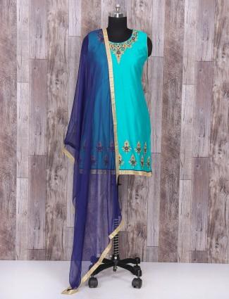 Festive wear Blue color silk salwar suit
