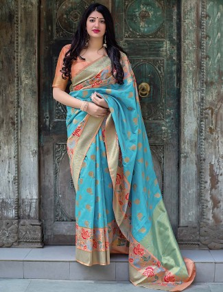 Festive wear aqua hue semi silk saree