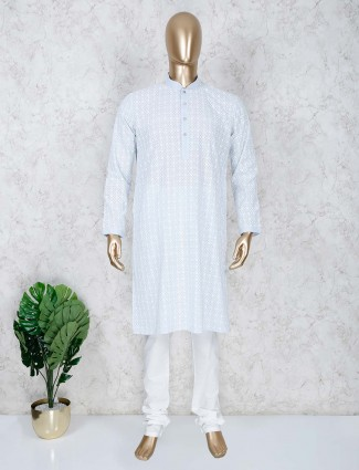 Festive wear blue hue stand collar kurta suit