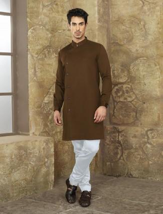 Festive wear brown color kurta suit