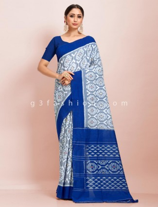 Festive wear contrast pallu grey and blue pure mul cotton saree