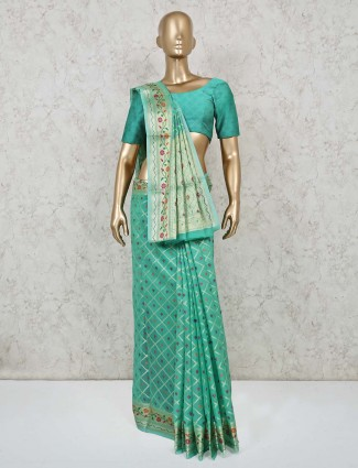 Festive wear cotton banarasi silk saree in green