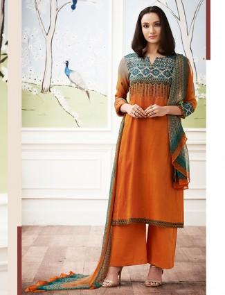 Festive wear cotton dress material in orange color