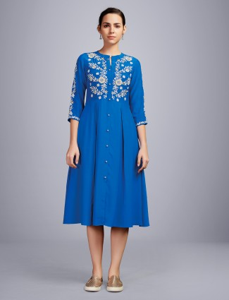 Festive wear cotton royal blue kurti