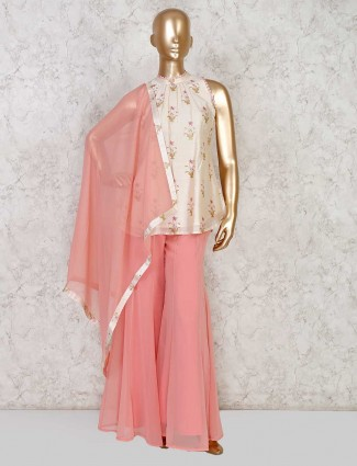Festive wear cotton silk and georgette sharara suit in cream and pink