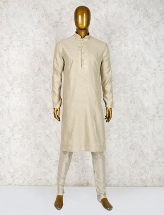 Festive wear cotton silk beige hue kurta suit