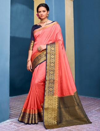 Festive wear cotton silk saree in peach