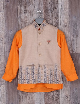 Festive wear cream and orange waistcoat