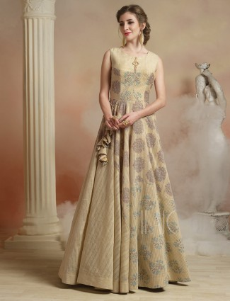 Festive wear cream color gown