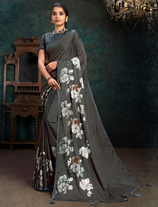 Festive wear dark grey marble chiffon saree