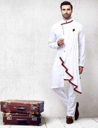 Festive wear designer white hue solid kurta suit