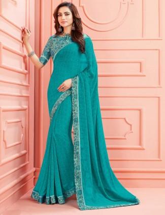 Festive wear georgette printed saree