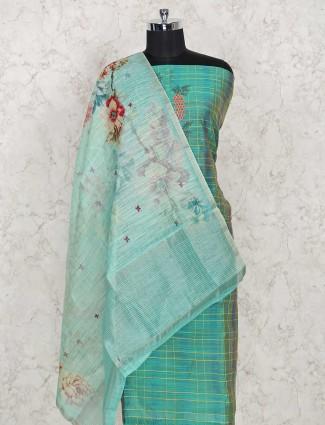 Festive wear green cotton dress material