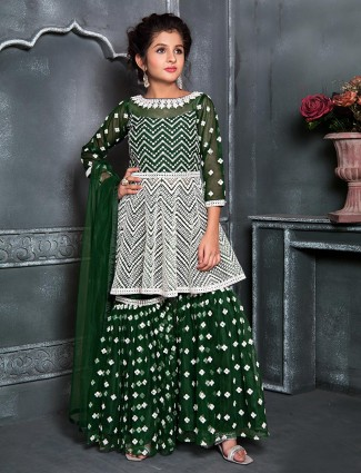 Festive wear green sharara suit