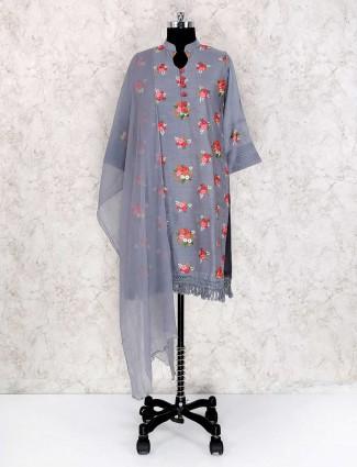 Festive wear grey color punjabi palazzo suit