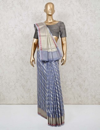 Festive wear grey cotton banarasi silk saree