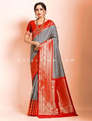 Festive wear grey heavy golden zari woven saree in art banarasi silk