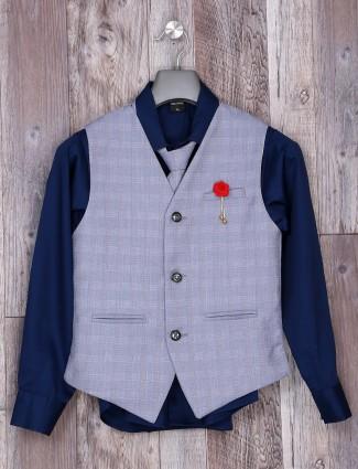 Festive wear grey hue checks waistcoat
