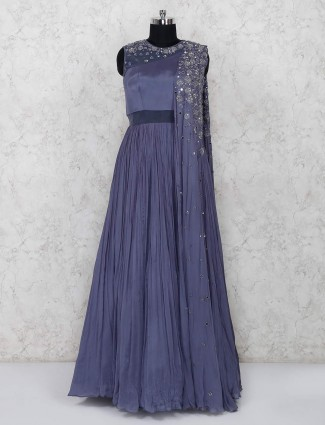 Festive wear grey indo western in georgette