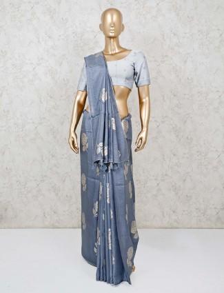Festive wear grey saree in semi silk