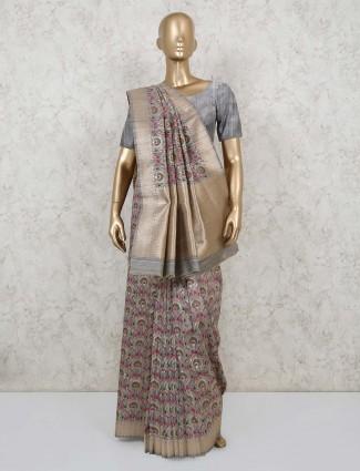 Festive wear grey semi banarasi silk saree