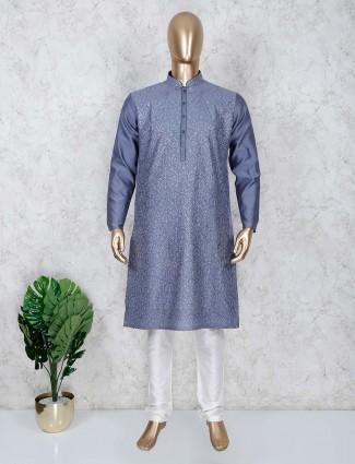 Festive wear grey thread weaving kurta suit