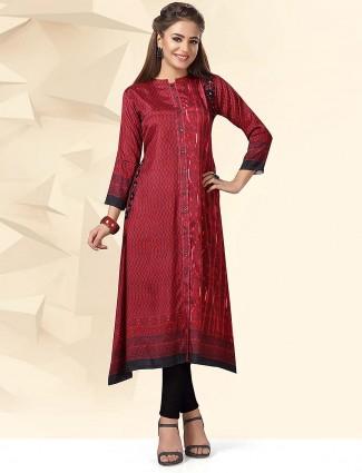 Festive wear maroon color kurti in cotton fabric
