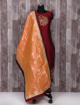 Festive wear Maroon color salwar suit