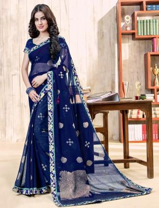 Festive wear navy chiffon saree