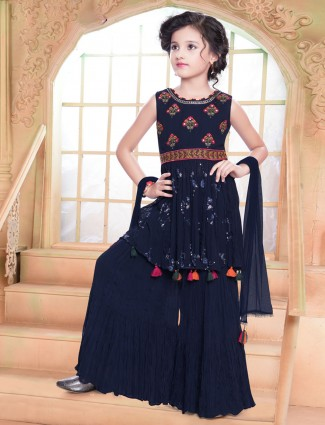 Festive wear navy georgette sharara suit