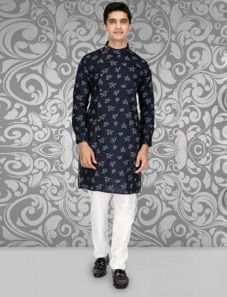 Festive wear navy hue printed pattern kurta suit