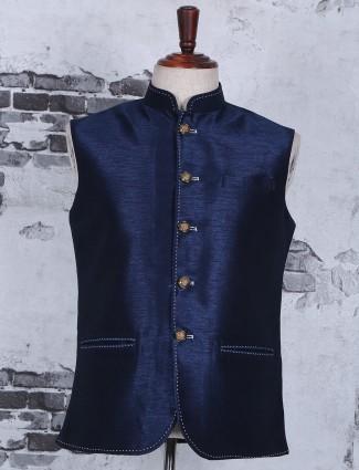 Festive wear navy plain silk waistcoat