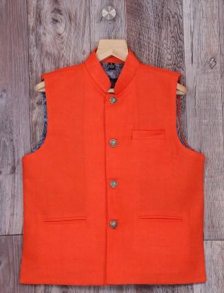 Festive wear orange terry rayon waistcoat
