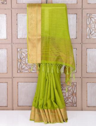 Festive wear parrot green bhagalpuri silk saree