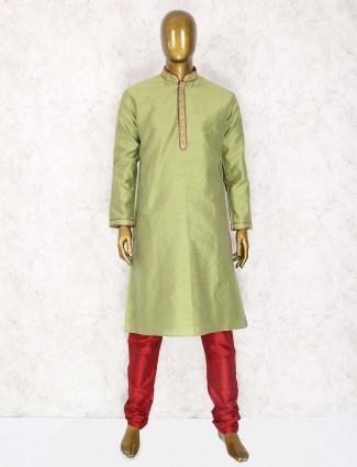 Festive wear parrot green kurta suit