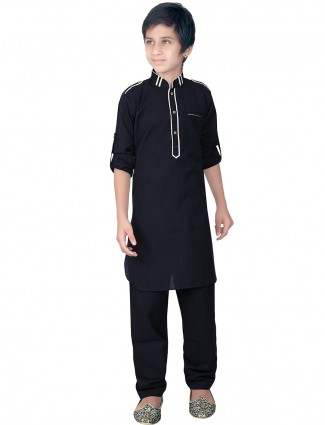 Festive wear pathani suit in black color