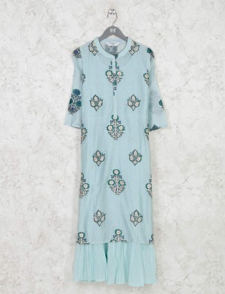 Festive wear printed blue cotton kurti