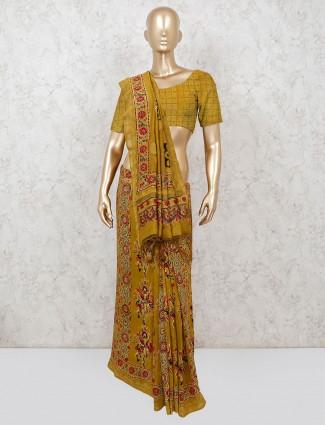 Festive wear printed cotton olive saree