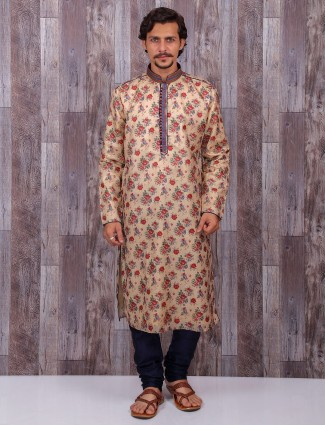 Festive wear printed cotton silk kurta suit