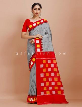 Festive wear Pure mul cotton grey and red contrast pallu sari