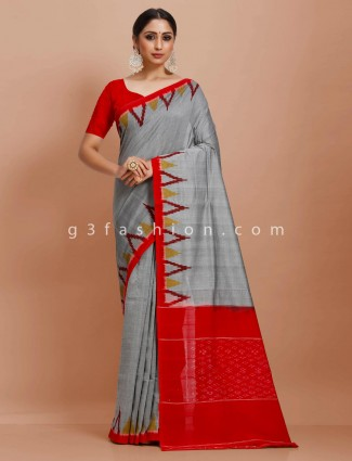 Festive wear pure mul cotton grey and red printed festive wear saree