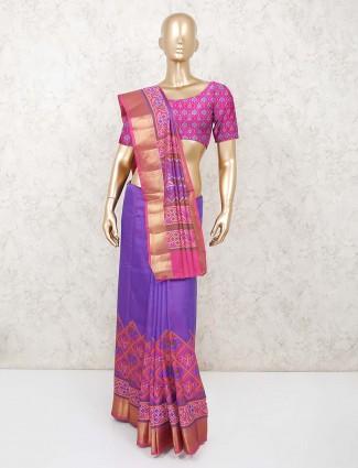 Festive wear purple patola printed cotton saree