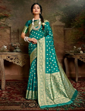 Festive wear rama Green handloom banarasi silk saree