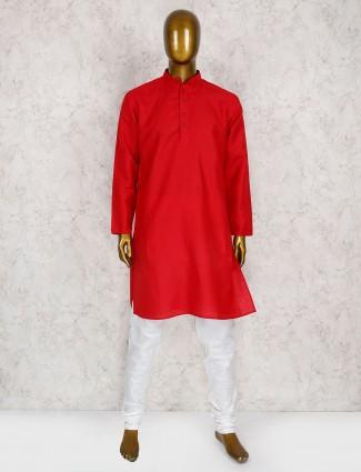 Festive wear red cotton kurta suit