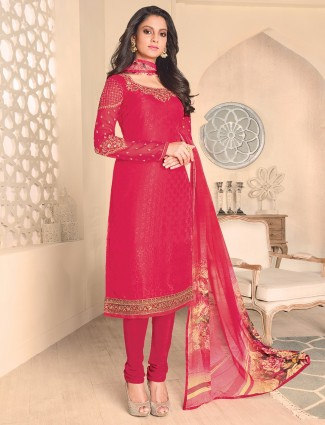 Festive wear red georgette salwar suit