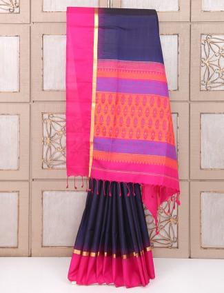 Festive wear silk fabric navy color saree