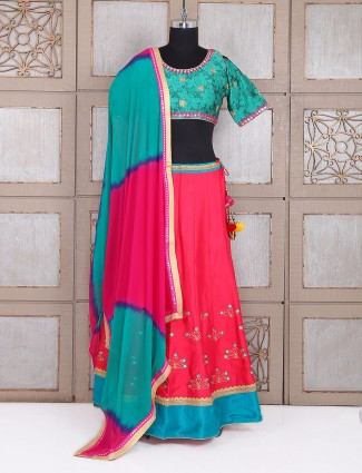 Festive wear silk green and pink lehenga choli