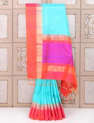 Festive wear silk saree in aqua color